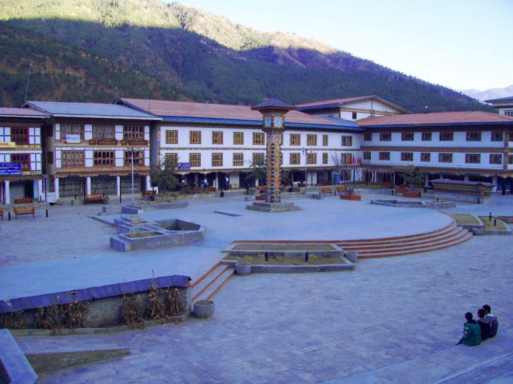 This is one of the Best Places To Visit In Thimphu Bhutan - the famous landmark in Thimphu, Bhutan - Clock Tower Square