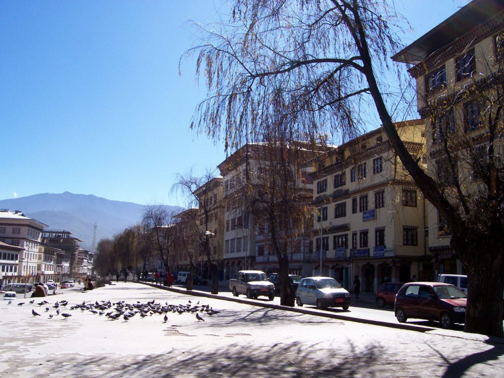 This is Norzin Lam, the main street of Thimphu, Bhutan. Just down the sidewalk is the famous landmark - Clock Tower Square