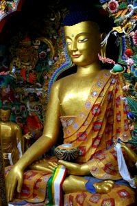 Inside Tashichho Dzong, a well crafted image of Budddha