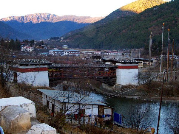 One of the Best Places to Visit in Thimphu Bhutan - Cantilever Bridge next to Tashichho Dzong