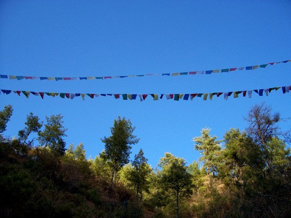 One of the Best Places to Visit in Thimphu Bhutan - Prayer Flags High Up on Radio Tower Hill