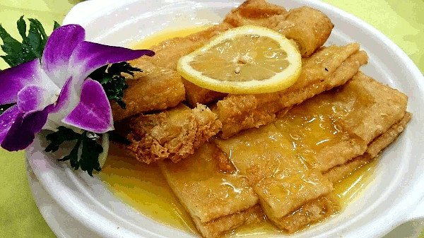 Good Food In Hong Kong - Deep Fried Bean Curd Sheets with Lemon Sauce at Po Lin Monastery Vegetarian Restaurant - Click on Image to Read More
