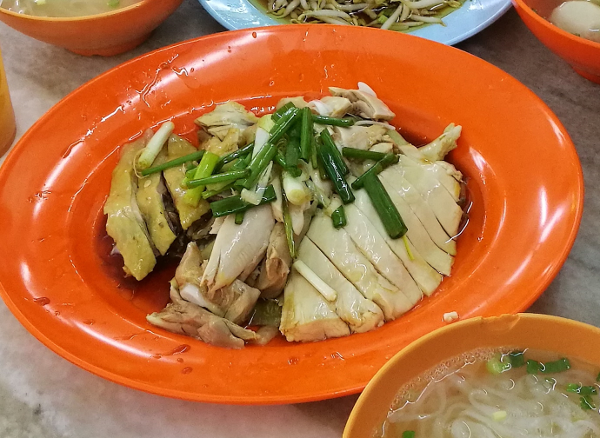 Pak Cham Gai - White Cut Chicken - Boiled to tenderness, flavored with superior soy sauce, and garnished with scallions - by Lou Wong in Ipoh