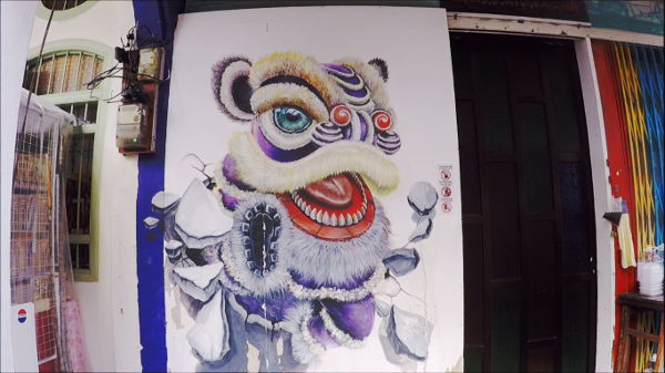 One of the famous Street Art in Penang - Lion Dance