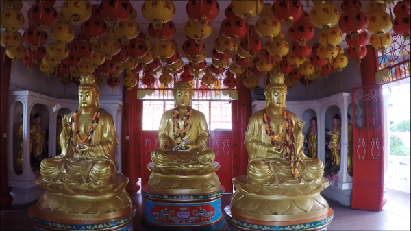 Three Buddhas in Theravada Buddhism Prayer Hall