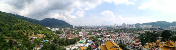 Panorama view of George Town from top of Pagoda of Ten Thousand Buddhas