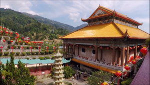 Kek Lok Si Temple - View of Circular Pavilion garden and Middle Prayer Hall - Click on Image to Read More