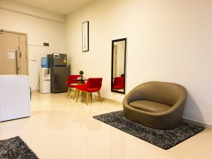 Phnom Penh Hotels - The Bridge Club Deluxe Double Room with City View - Living Room with Refrigerator, Water Cooler and Washing/Dryer Machine