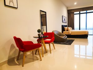 Phnom Penh Hotels - The Bridge Club Deluxe Double Room with City View - Living Room and Bed plus window with Great View of the City and Mekong River!