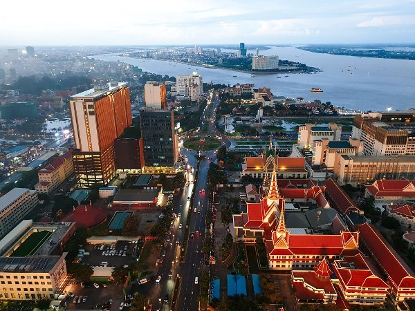 Phnom Penh Hotels - The Bridge Club Deluxe Double Room with City View - Great View of the City and Mekong River in the evening!
