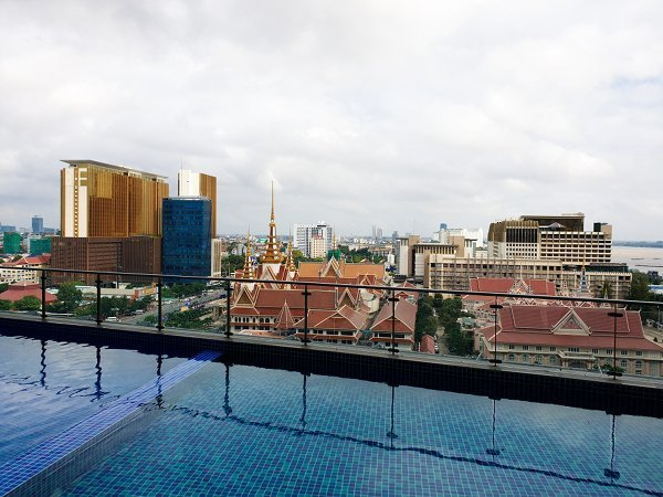 View of Phnom Penh and Mekong River from Outdoor Swimming Pool at 13th Floor