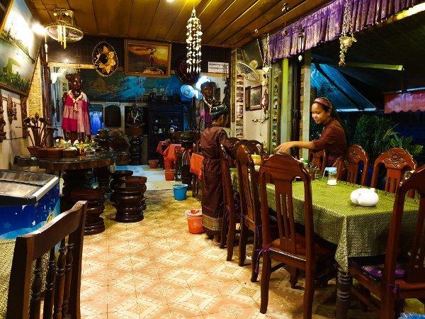 Phnom Penh Restaurants - Interior of Boat Noodle Restaurant, Waitresses cleaning up