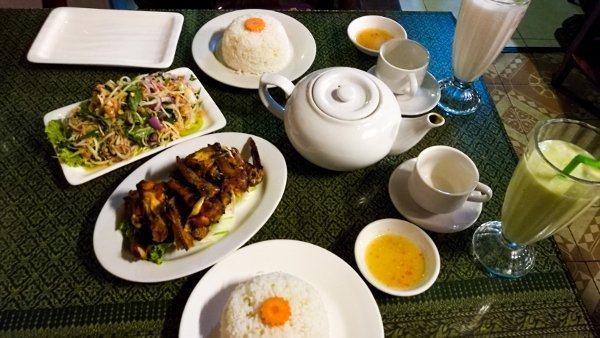 Phnom Penh Restaurants - Dinner with Salad, Chicken Wings, Coconut Freeze and Avocado Freeze
