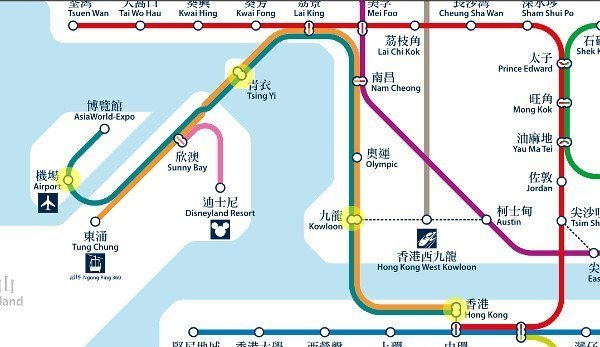 Map showing Airport Express Line and the few stations it stops at - Tsing Yi station, Kowloon station and Hong Kong station
