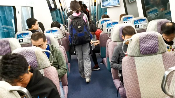 The seats are large and very comfortable. Plus, the train is very clean. Really world-class!