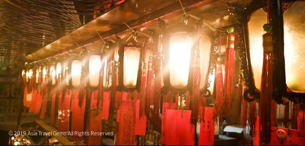 Man Mo Temple - Gorgeous Lanterns with prayers from devotees