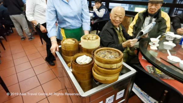 Trolley Filled with Cheong Fun and Many Other Dim Sum