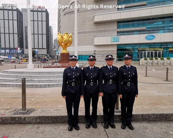 Hong Kong Police Officers who performed the flag raising ceremony