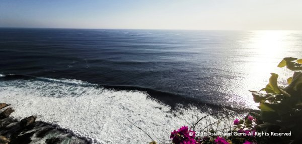 View of Indian Ocean and Waves at The Uluwatu Temple