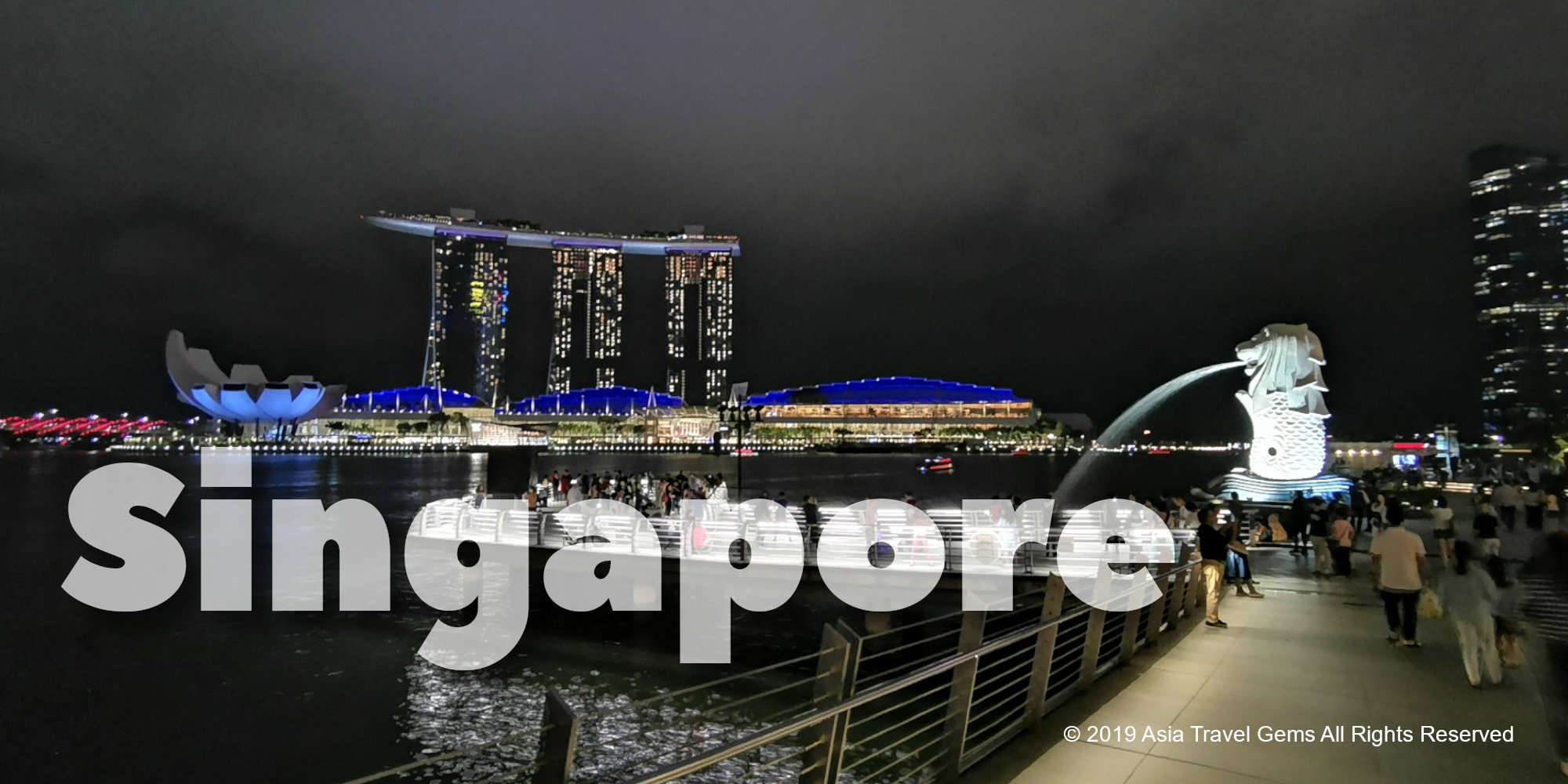 Singapore Merlion and Marina Bay Sands